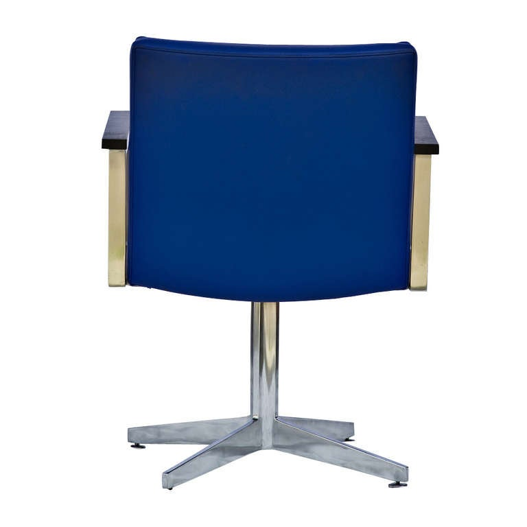 American One GF General Fireproofing Side Chair with Polished Aluminum Frame and Base For Sale