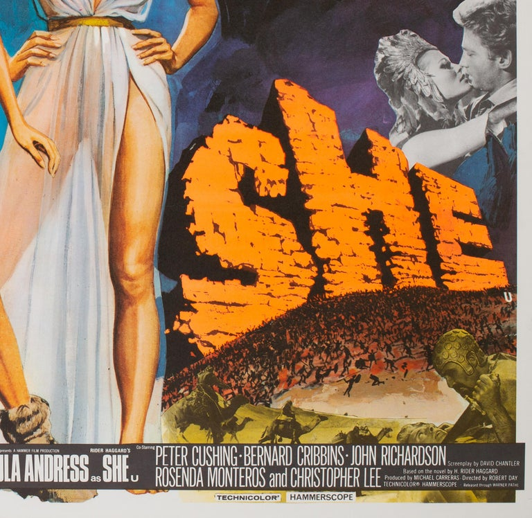 British One Million Years B.C/She Double 1968 Bill UK Quad Film Movie Poster, Chantrell For Sale
