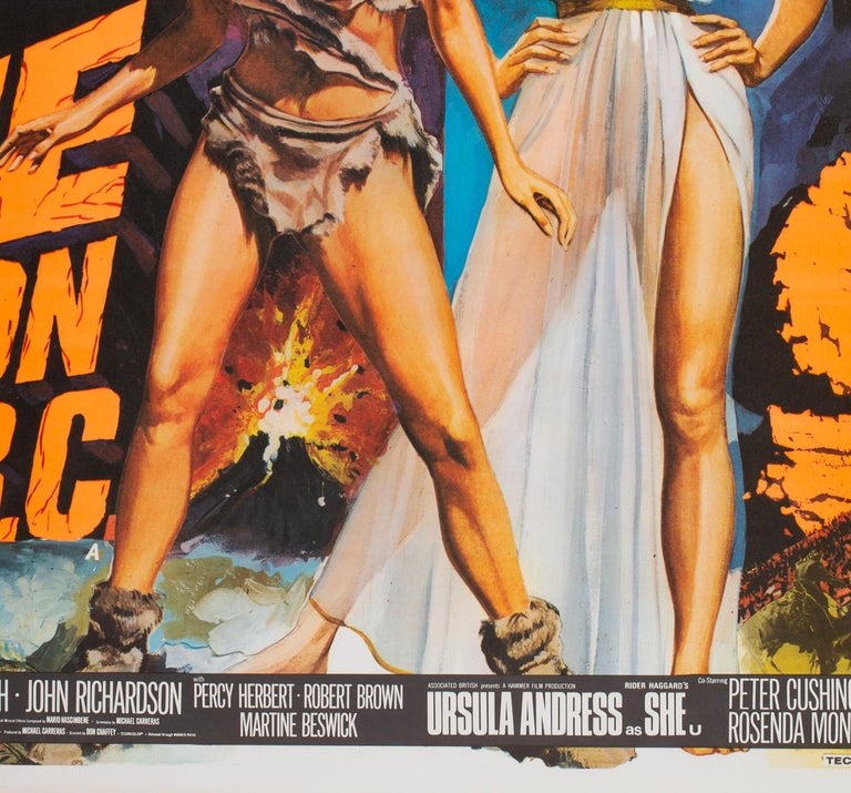 One Million Years B.C/She Double 1968 Bill UK Quad Film Movie Poster, Chantrell In Excellent Condition For Sale In Bath, Somerset