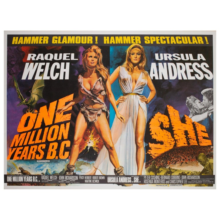 One Million Years B.C/She Double 1968 Bill UK Quad Film Movie Poster, Chantrell For Sale