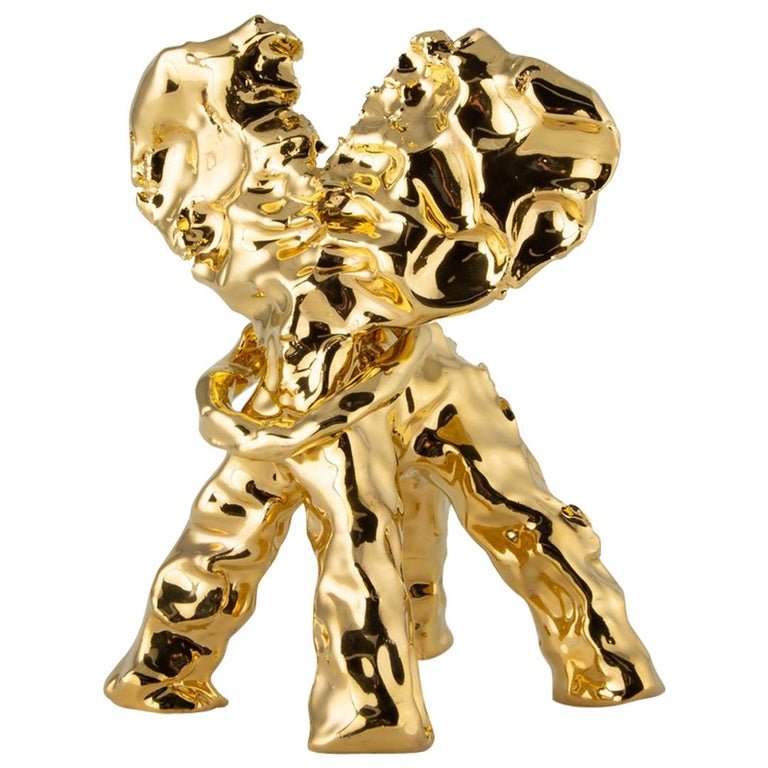 One Minute Sculpture, by Marcel Wanders, Hand-Sculpted Unique, Gold, #102837/2 For Sale