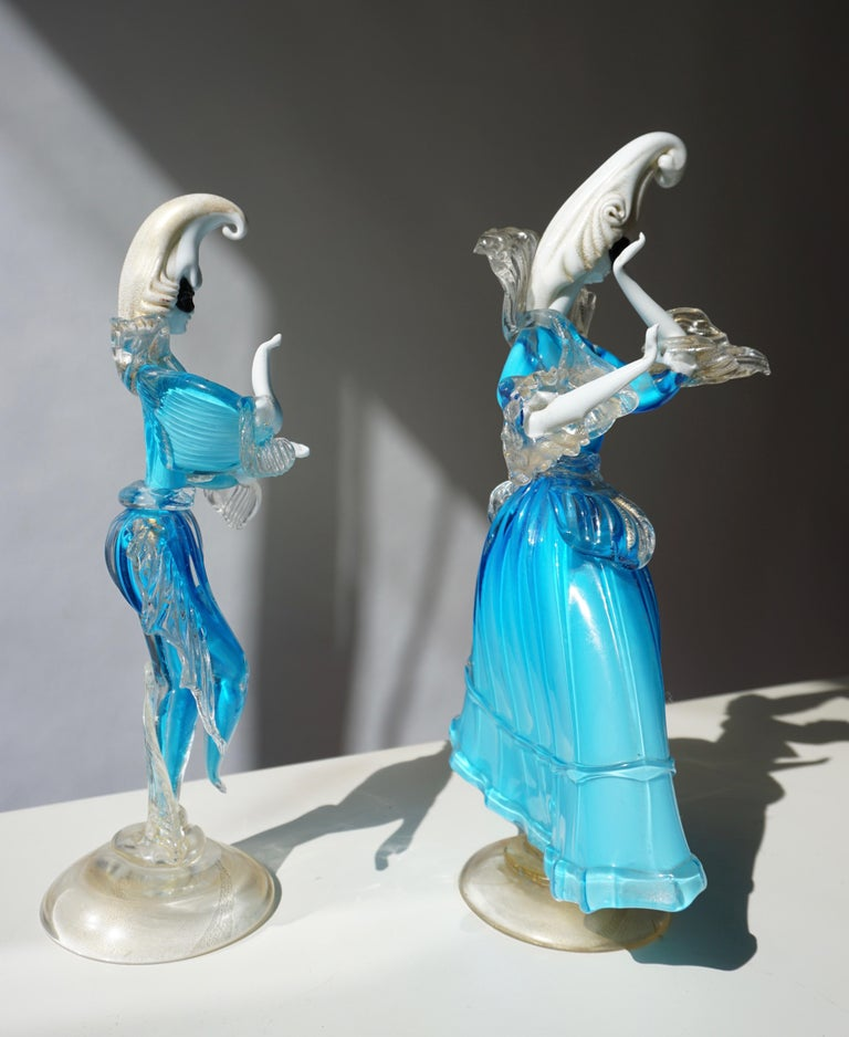 Hollywood Regency One Murano Glass Carnival Lady Dancer For Sale