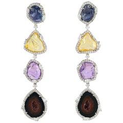 One of a Kind 12.97 Carat Geode Sapphire 18 Karat Gold Diamond Earrings