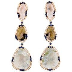 One of a kind 17.32 Carat Geode 18 Karat Gold Diamond Earrings