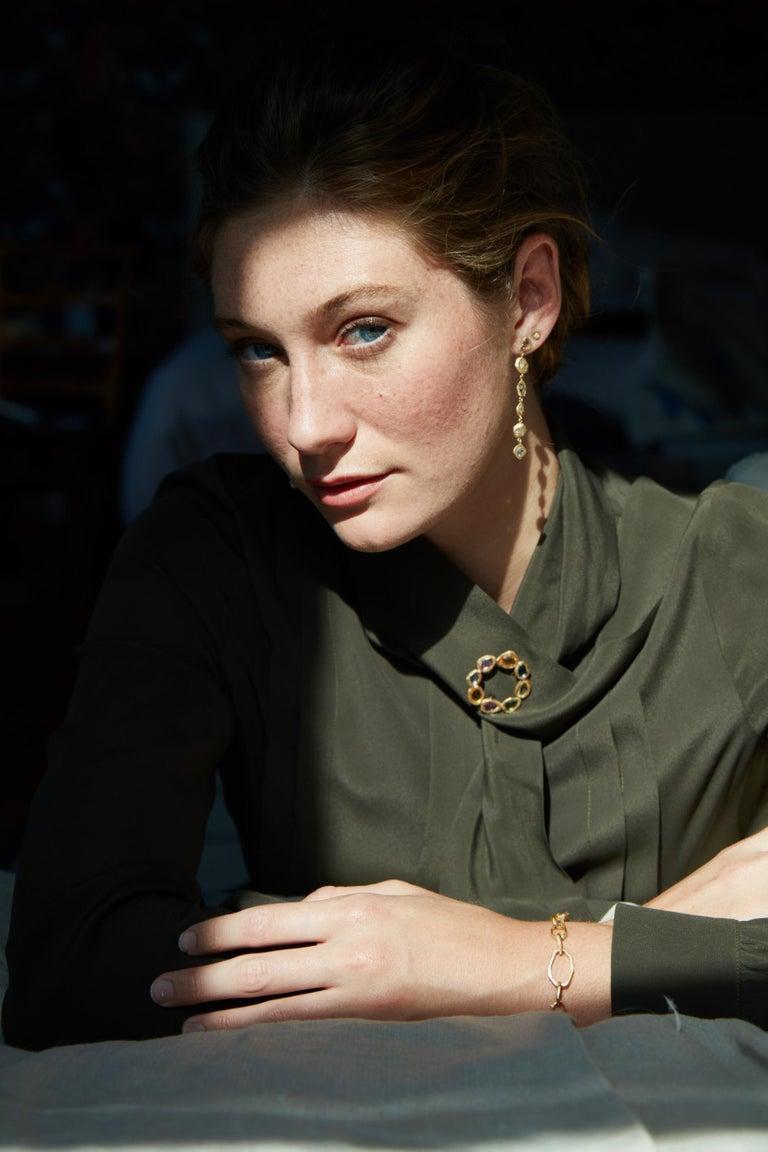 Artisan Diamond Yellow Gold Drop Earrings For Sale