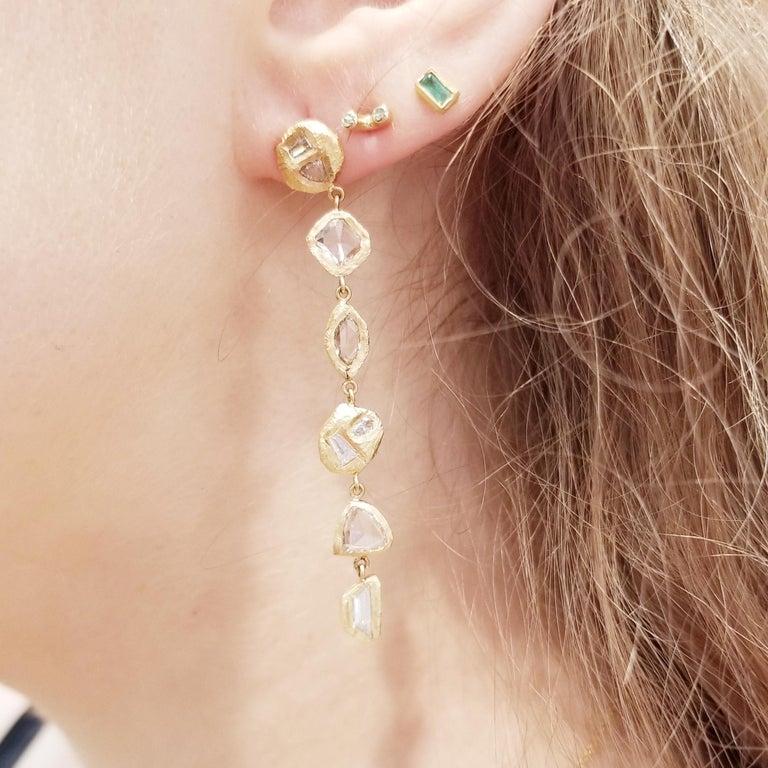 Rose Cut Diamond Yellow Gold Drop Earrings For Sale