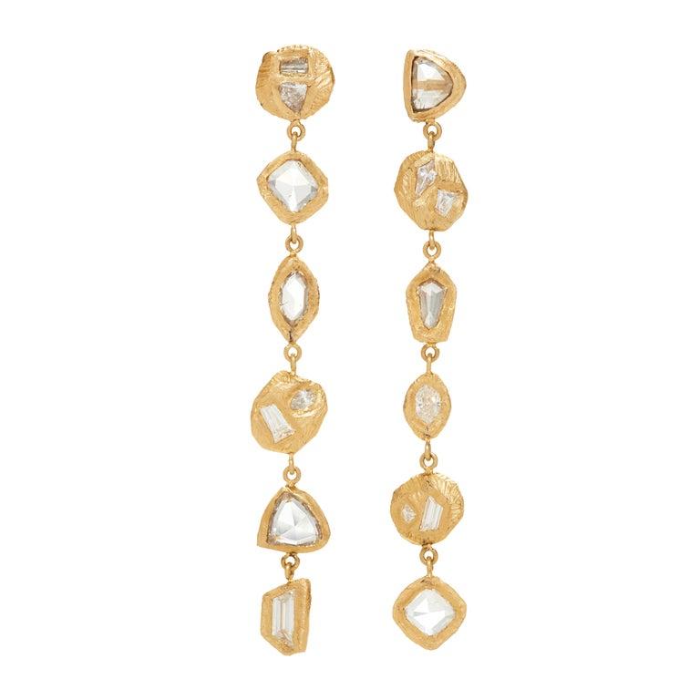 Diamond Yellow Gold Drop Earrings For Sale