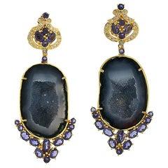 One of a Kind 18 Karat Gold Geode Diamond Iolite Earrings