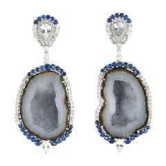 One of a Kind 18 Karat Gold Geode Diamond Sapphire Earrings