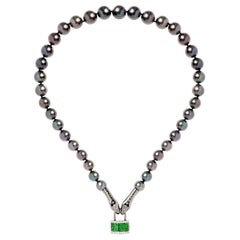 Nikos Koulis One-of-a-Kind 18 Karat Gold Tsavorite Diamond Grey Pearl Necklace