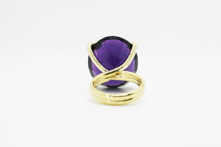 One of A Kind 18 Karat Natural Amethyst Diamond Climbing Snake Ring  For Sale 1