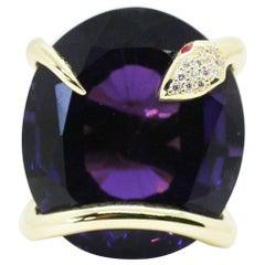 One of A Kind 18 Karat Natural Amethyst Diamond Climbing Snake Ring