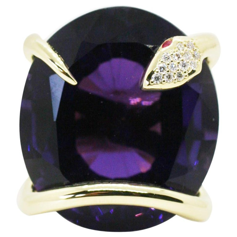 One of A Kind 18 Karat Natural Amethyst Diamond Climbing Snake Ring  For Sale