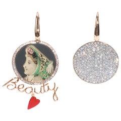 One of a Kind 18 Karat Rose Gold, Diamonds, Enamel Beauty in the Mirror Earring