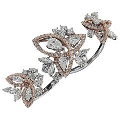 One of a Kind, 18 Karat White and Pink Gold, and Diamond Dual Loop Ring