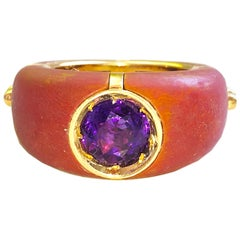 One of a Kind 18.30 Karat Natural Amethyst Red Oxidized Brass Gold Cocktail Ring