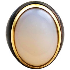 Berca One-of-a-Kind 20 Kt Natural White Opal Oxidized Brass Gold Cocktail Ring