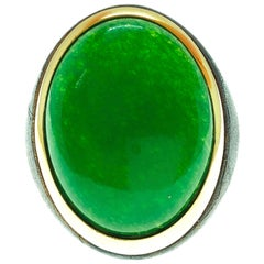 One-of-a-Kind 22 Carat Natural Green Jade Oxidized Brass Gold Cocktail Ring