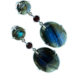 One-of-a-Kind 26.5 Karat Labradorite Red Garnet Dangle White Gold Earrings
