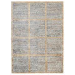 One of a Kind Contemporary Handwoven Wool Area Rug  5' x 8'.