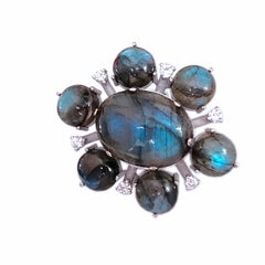 One-of-a-Kind 55.20 Carat Labradorite White Diamond Peacock Blue Cocktail Ring