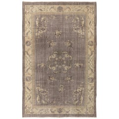 One of a Kind Art Deco Rug in Lavender and Beige Colors