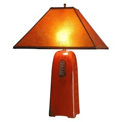 One of a Kind Artisan Made Russet Ceramic Table Lamp with Mica Shade