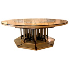 One of a Kind Artist Round Table of Mixed Woods, Brass and Stingray Shagreen