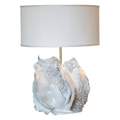 One of a Kind Artistic Ivory Glazed Ceramic Table Lamp, Italy, 2020