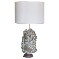 One of a Kind Artistic Taupe Glazed and Raw Ceramic Table Lamp, Italy, 2020