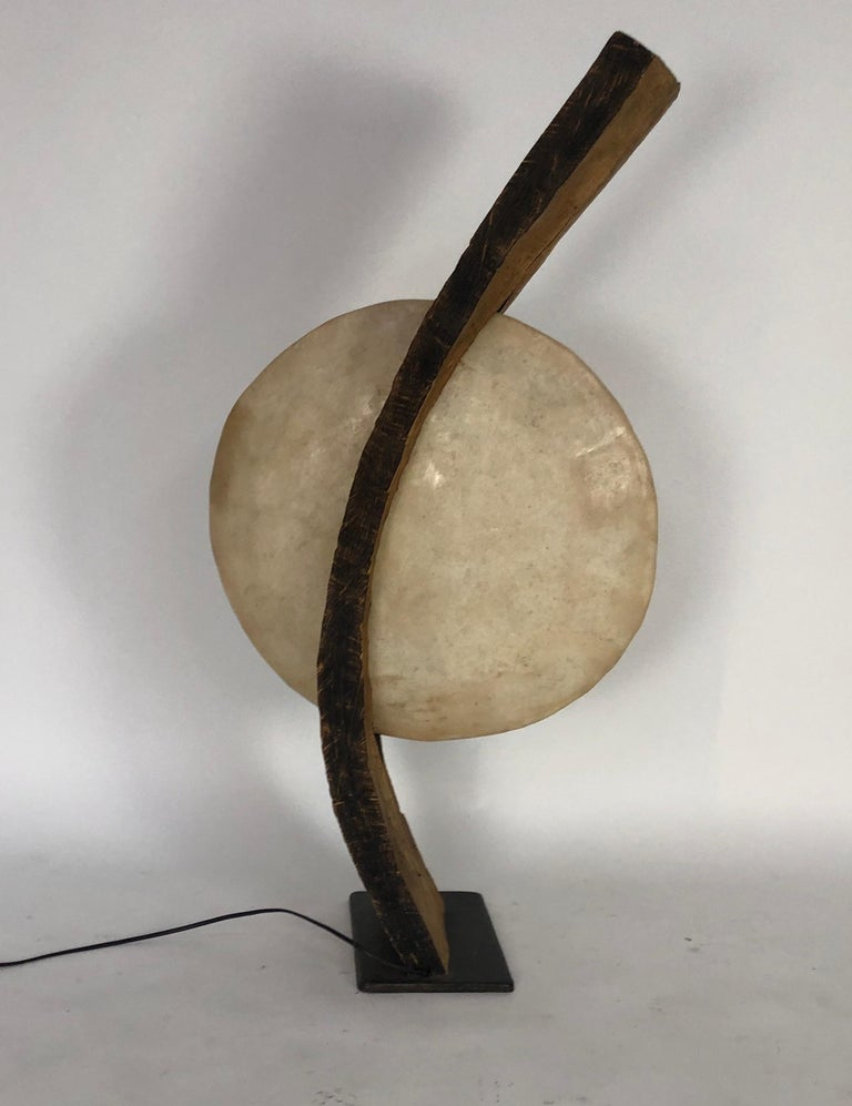 Contemporary One of a Kind Bent Wood Lamp For Sale
