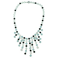 One of a Kind Bernard Passman White Gold Diamond Aquamarine Black Onyx Necklace