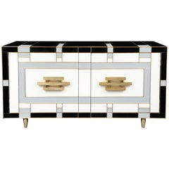 One of a Kind Black, Ivory and Grey Glass with Brass Inlay Sideboard, Signed