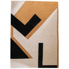 One of a Kind Black Ivory Ocra Geometrical Carpet, Nepal, 2020