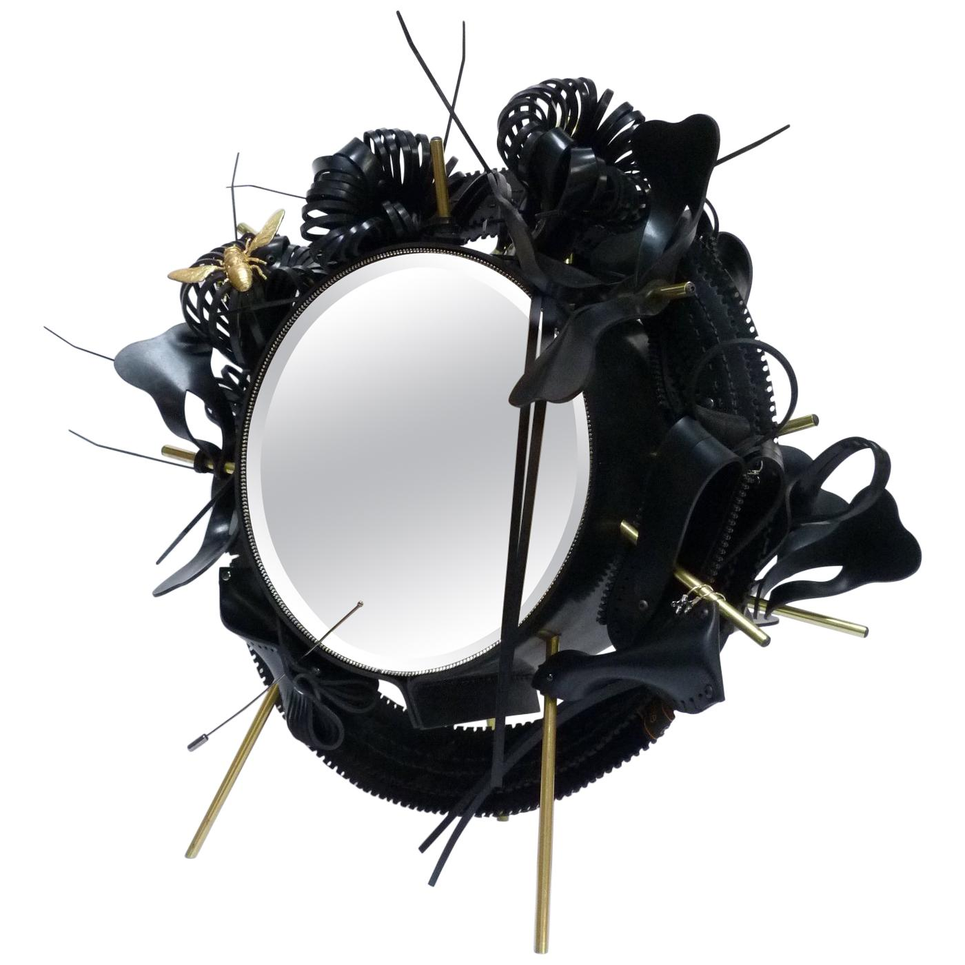 One of a Kind Black Vanity Table Mirror, France, 2018