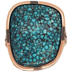 One of a Kind Black-Web Kingman Turquoise Sterling Silver Ring by Harlin Jones