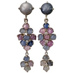 No-Heat Burma Star Sapphire Chandeliers Earrings Art Deco Style