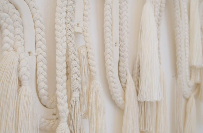 American One of a Kind Ceramic and Braided Cotton/Tencel 5-Panel Wall Sculpture in White For Sale