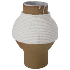 One of a Kind Ceramic and Woven Cotton Vase in Natural/White