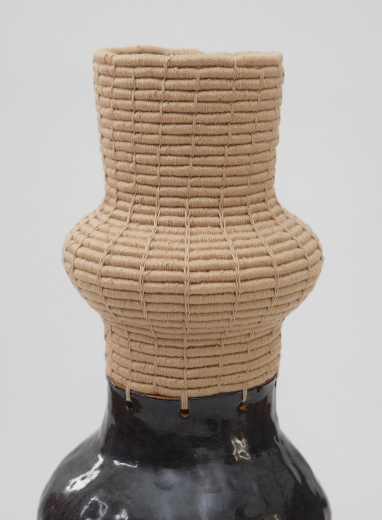 American One of a Kind Ceramic and Woven Cotton Vessel in Black or Tan For Sale