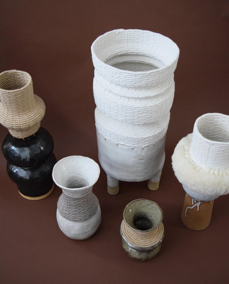 Contemporary One of a Kind Ceramic and Woven Cotton Vessel in Black or Tan For Sale