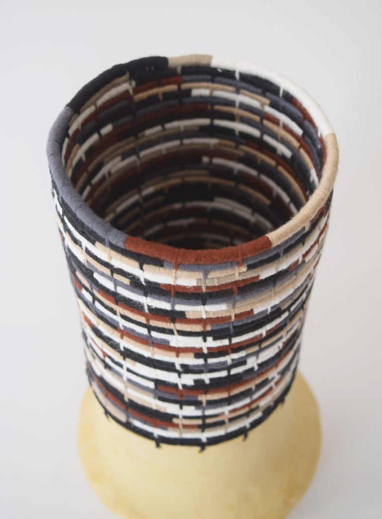 American One of a Kind Ceramic and Woven Cotton Vessel in Multi For Sale