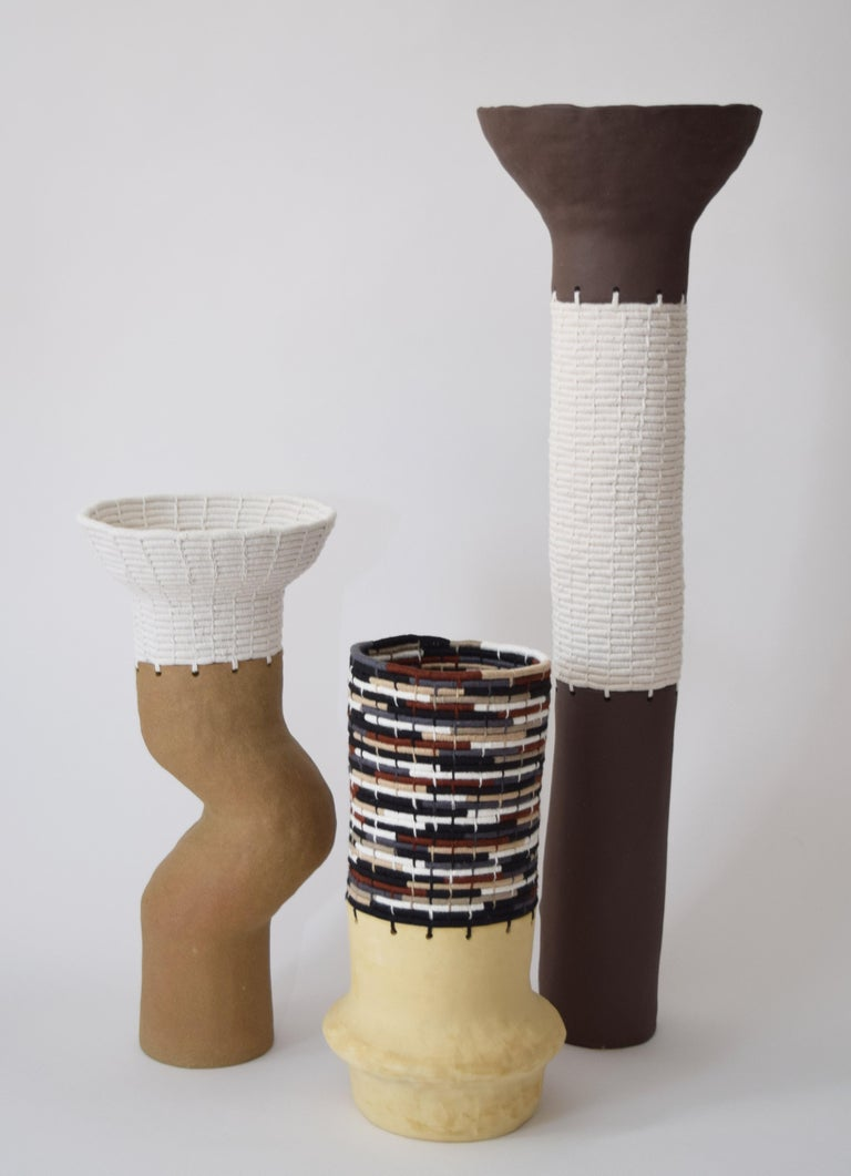 One of a Kind Ceramic and Woven Cotton Vessel in Multi In New Condition For Sale In Long Beach, CA