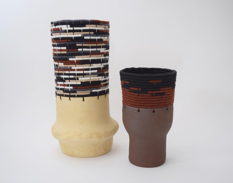 Contemporary One of a Kind Ceramic and Woven Cotton Vessel in Multi For Sale