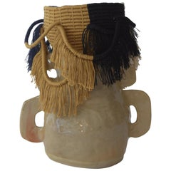 One of a Kind Ceramic and Woven Cotton Vessel in Natural, Gold, Black, Navy