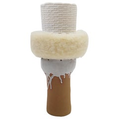 One of a Kind Ceramic and Woven Cotton Vessel in Natural/White with Wool Detail