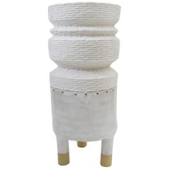 One of a Kind Ceramic and Woven Cotton Vessel in White