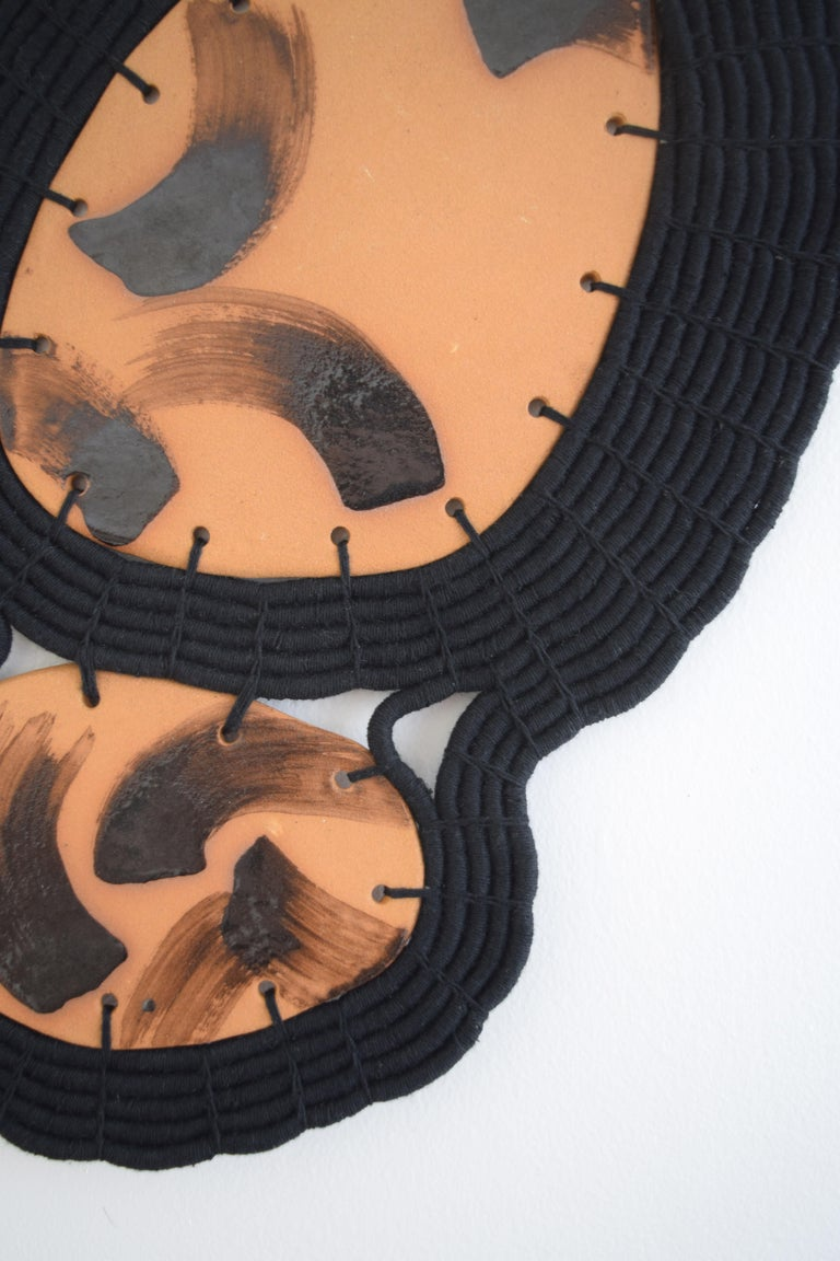 American One of a Kind Ceramic and Woven Cotton Wall Sculpture in Black and Natural For Sale