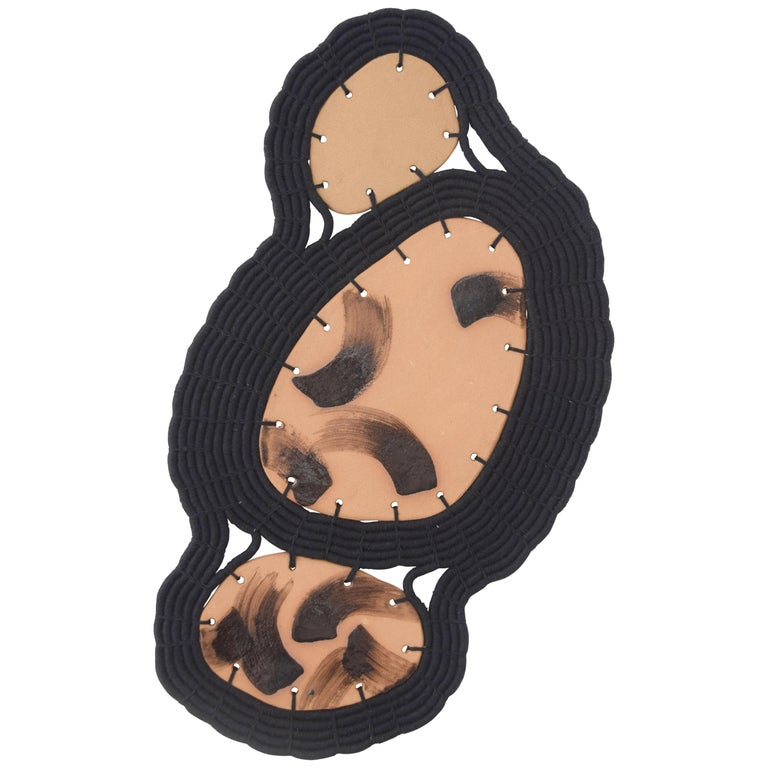 One of a Kind Ceramic and Woven Cotton Wall Sculpture in Black and Natural For Sale