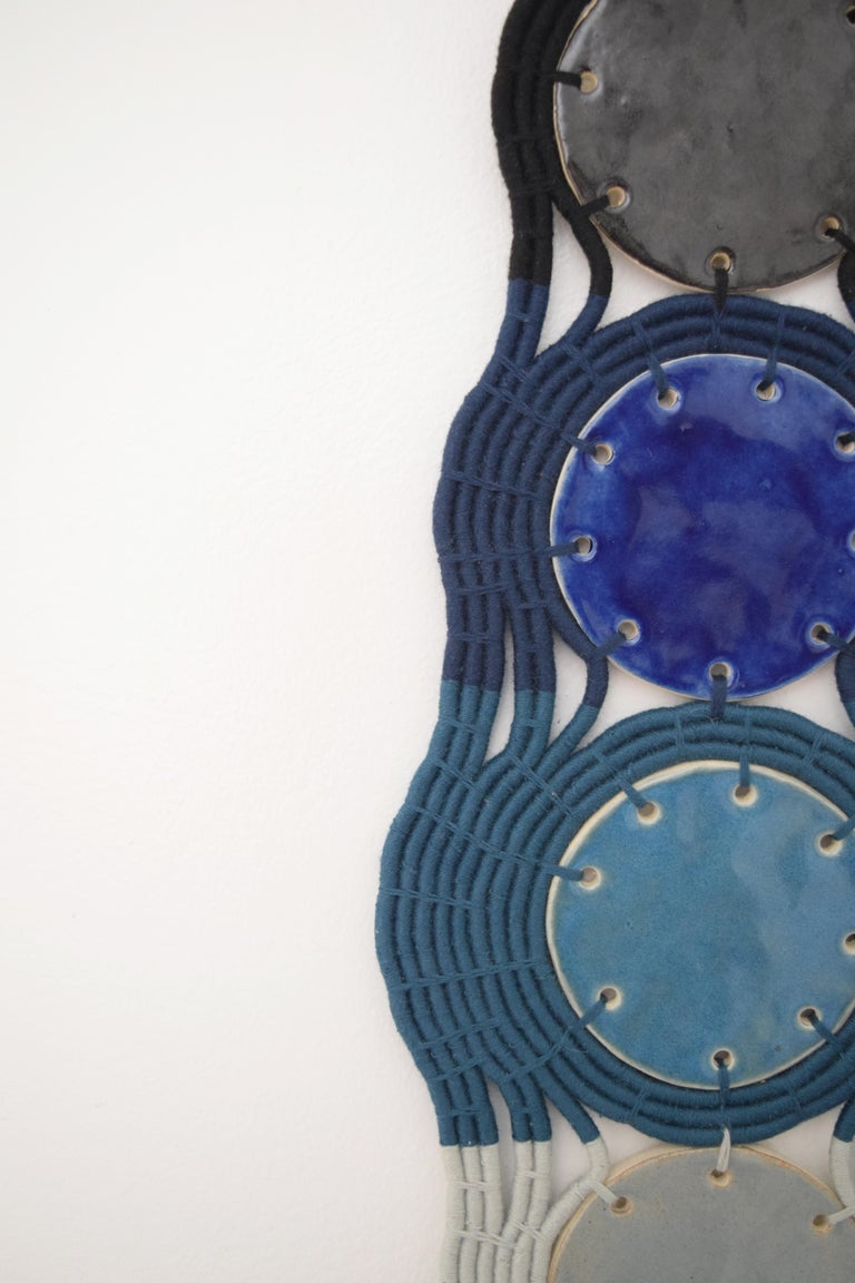 One of a Kind Ceramic and Woven Cotton Wall Sculpture in Black/Blue/White In New Condition For Sale In Long Beach, CA